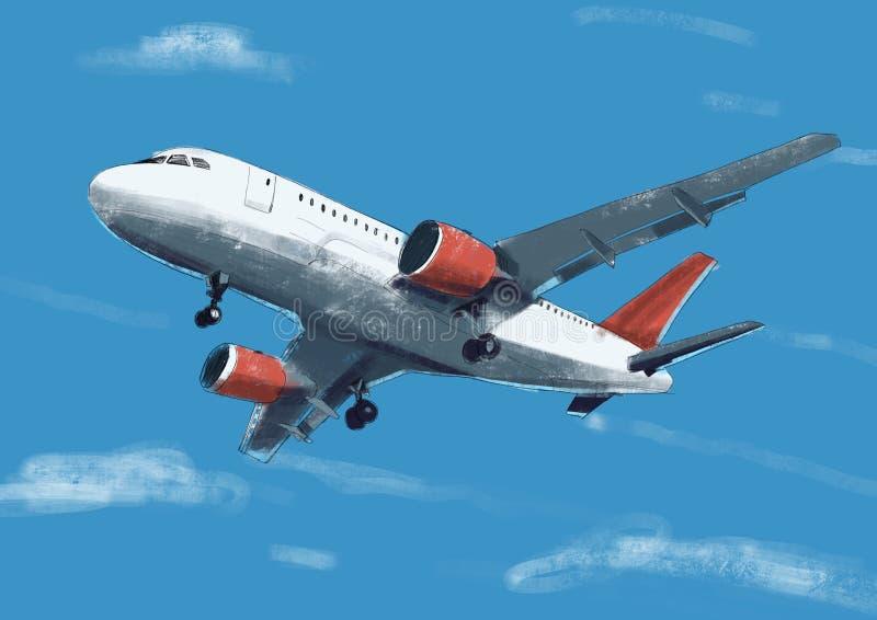 Aeroplano rojo de la acuarela en el ejemplo del cielo azul con el tratamiento por ordenador vista de un avión del vuelo libre illustration