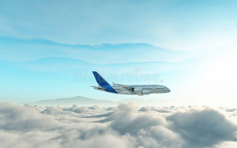 Aeroplano sobre las nubes libre illustration