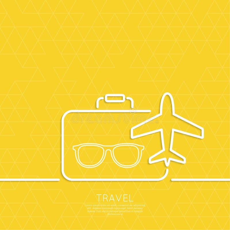 Aeroplano y maleta del icono libre illustration