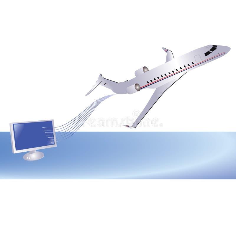 Aeroplano y ordenador ilustración del vector