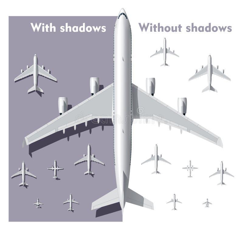 Aeroplanos de arriba de la opinión del vector fijados stock de ilustración