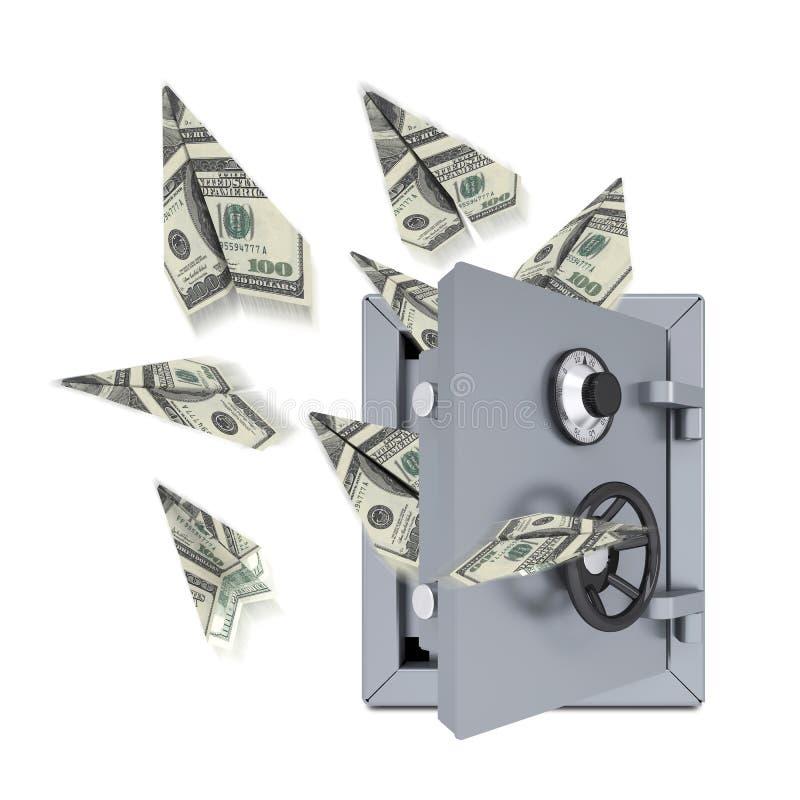 Aeroplanos de papel de dólares de una caja fuerte abierta libre illustration