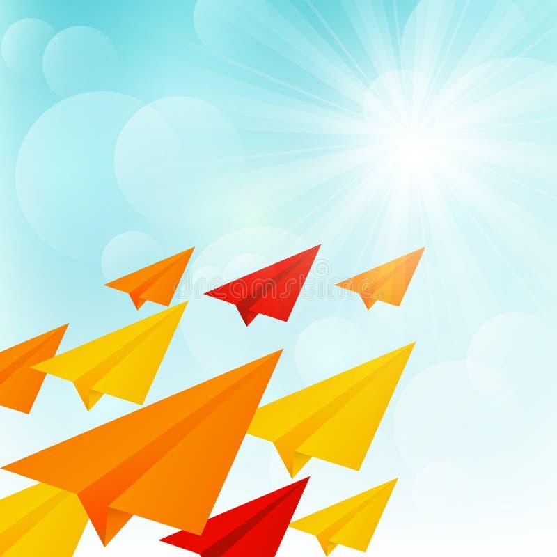 Aeroplanos de papel en cielo soleado ilustración del vector