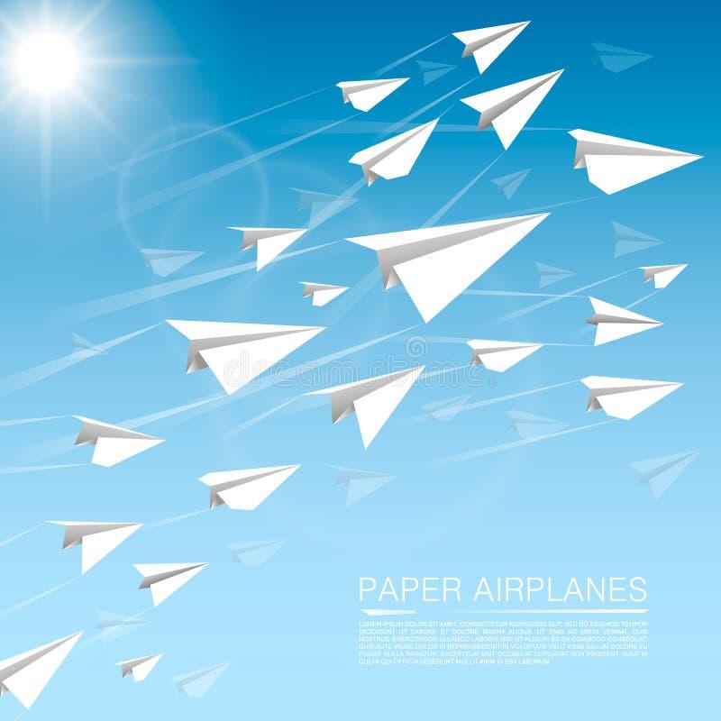 Aeroplanos de papel que vuelan stock de ilustración