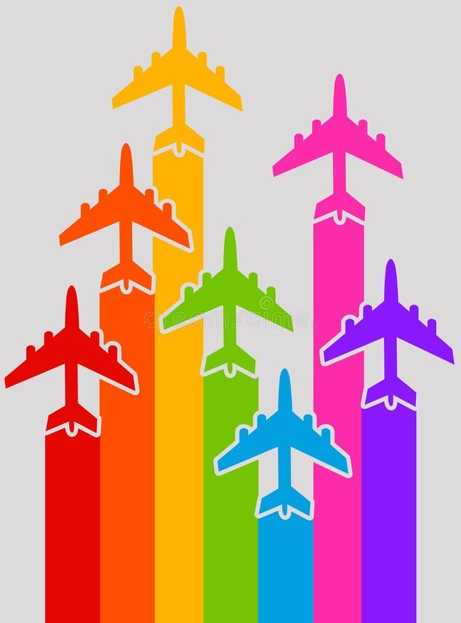 Aeroplanos del arco iris ilustración del vector