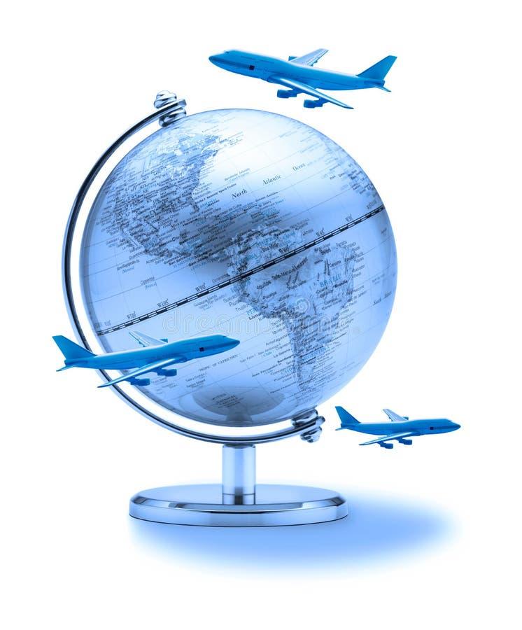 Aeroplanos del globo del recorrido del mundo fotografía de archivo libre de regalías