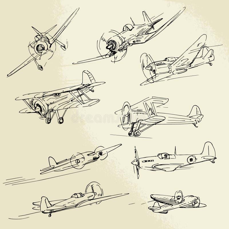 Aeroplanos dibujados mano stock de ilustración