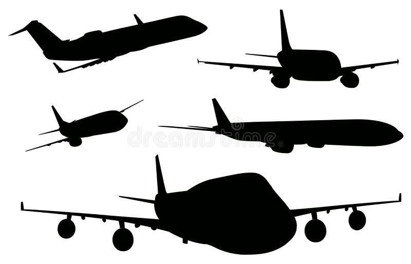 Aeroplanos en color negro stock de ilustración