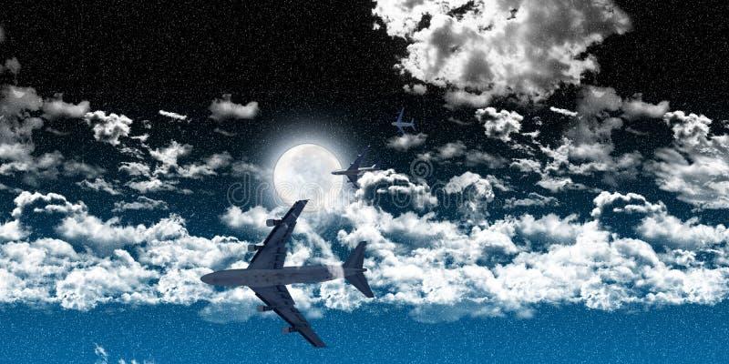 Aeroplanos entre las nubes en la noche imagenes de archivo