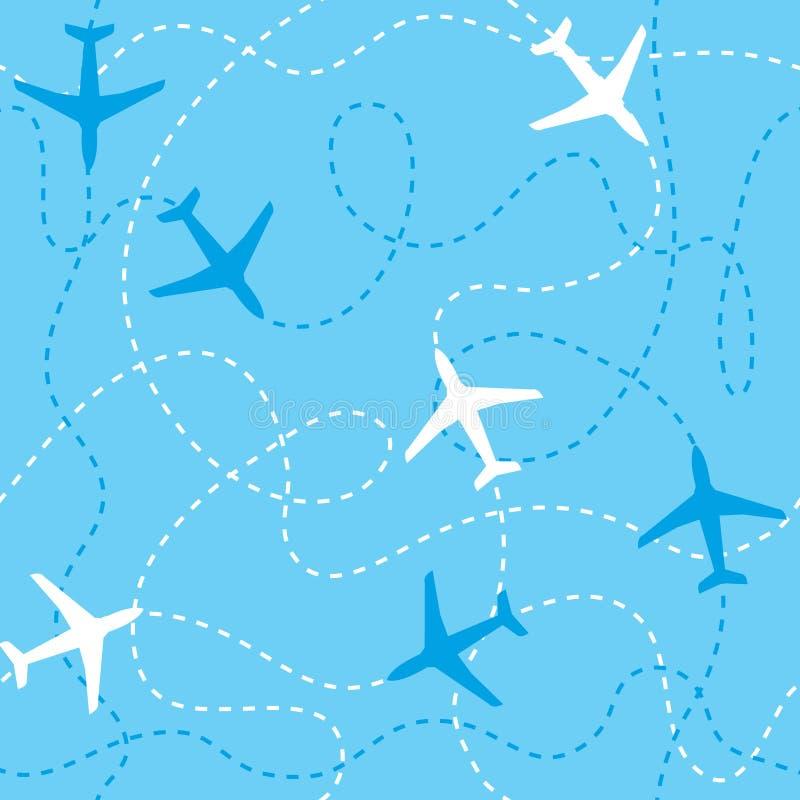 Aeroplanos inconsútiles del fondo que vuelan con las líneas discontinuas como pistas o las rutas en el cielo azul ilustración del vector