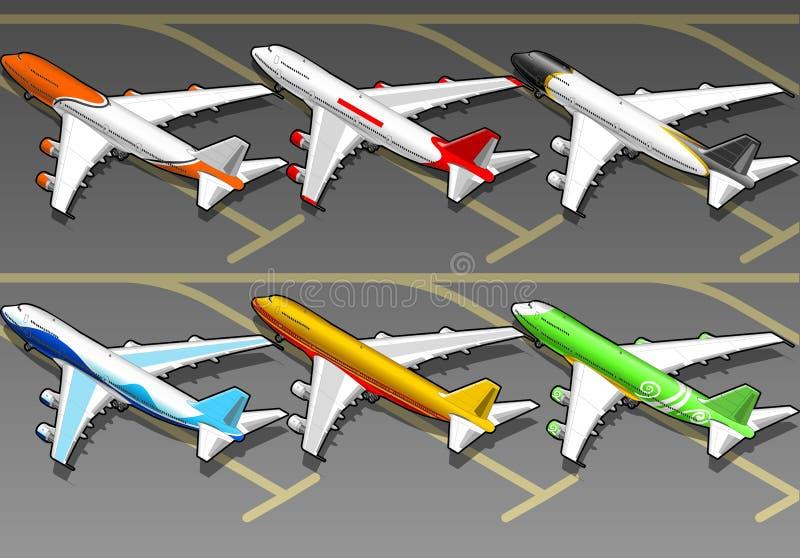 Aeroplanos isométricos en la librea seises. ilustración del vector