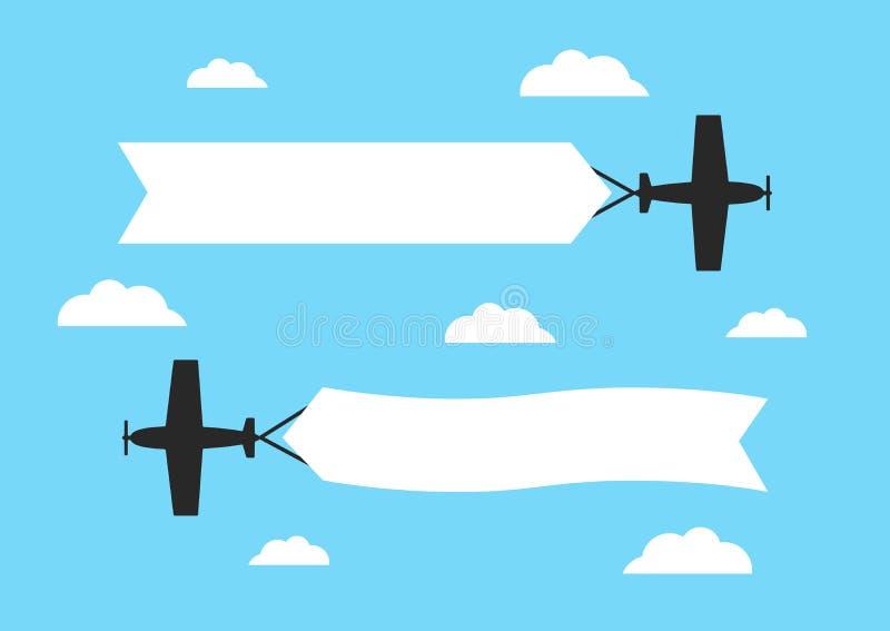 Aeroplanos que vuelan con las banderas de la publicidad Aviones con las cintas en blanco ilustración del vector
