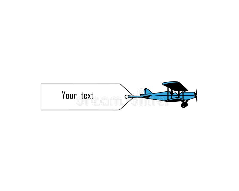Aeroplanos que vuelan del vintage con las banderas Plantilla para el texto Ilustraci?n del vector libre illustration