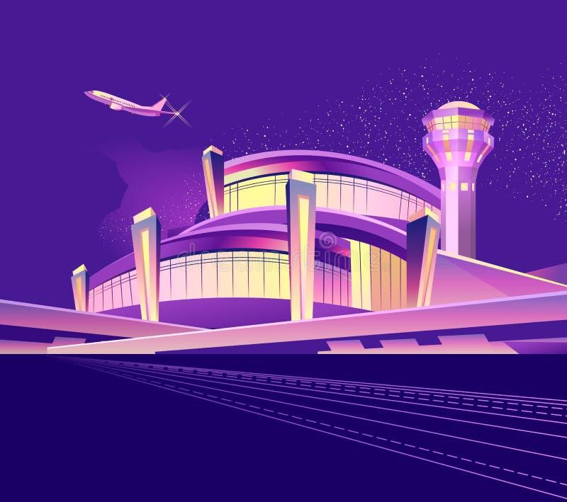 Aeroporto al neon di notte illustrazione di stock