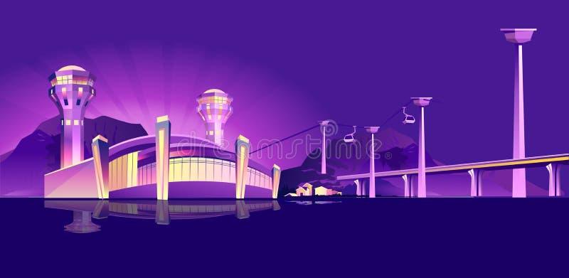 Aeroporto al neon di notte illustrazione vettoriale