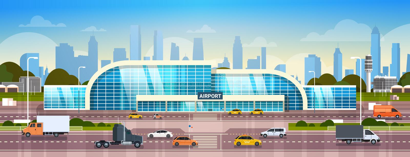 Aeroporto che sviluppa terminale moderno esteriore con le automobili sull'alta strada di modo ed i grattacieli sull'insegna di or illustrazione vettoriale