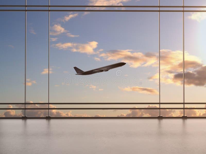 Aeroporto con la finestra fotografie stock libere da diritti