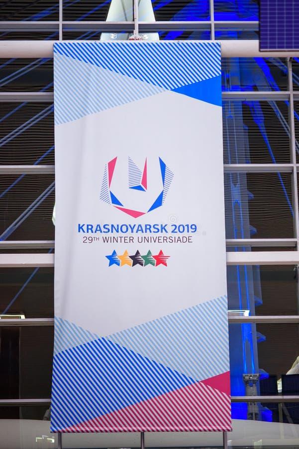 Aeroporto de Krasnoyarsk krasnoyarsk Russia-17 02 2019 sinal bem-vindo para o KRASNOYARSK, RÚSSIA - 9 de janeiro de 2018: um sina imagem de stock