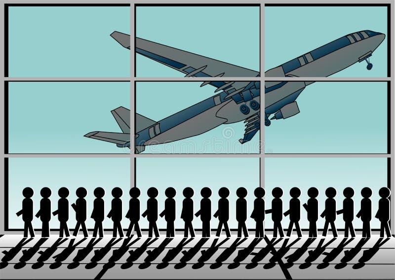 Aeroporto e fila ilustração do vetor