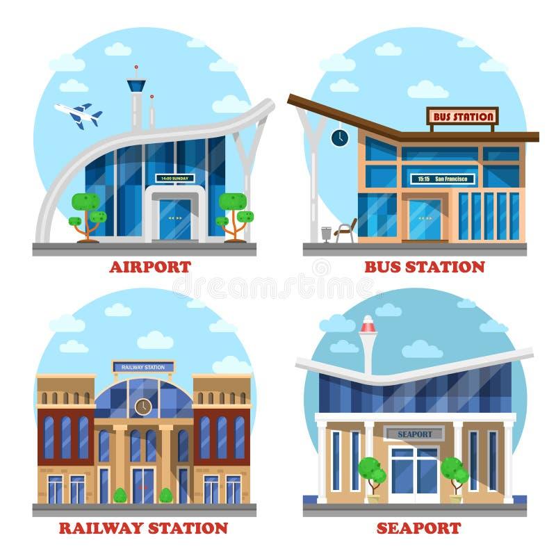 Aeroporto e stazione ferroviaria, porto marittimo, bus illustrazione vettoriale