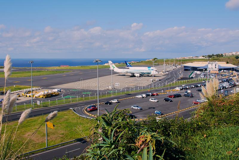 Aeroporto em Ponta Delgada no Sao Miguel, Açores foto de stock royalty free