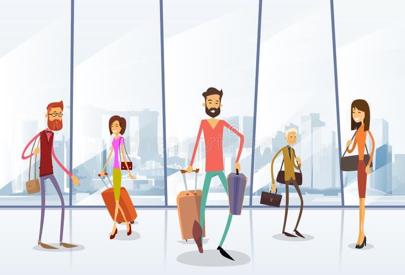 Aeroporto Hall Departure Terminal dos povos do viajante ilustração do vetor