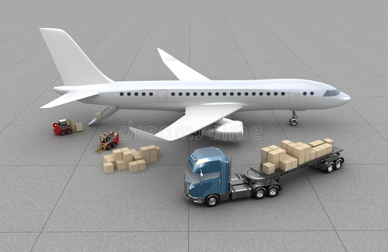 Aeroporto: i carrelli elevatori sta caricando l'aeroplano illustrazione vettoriale