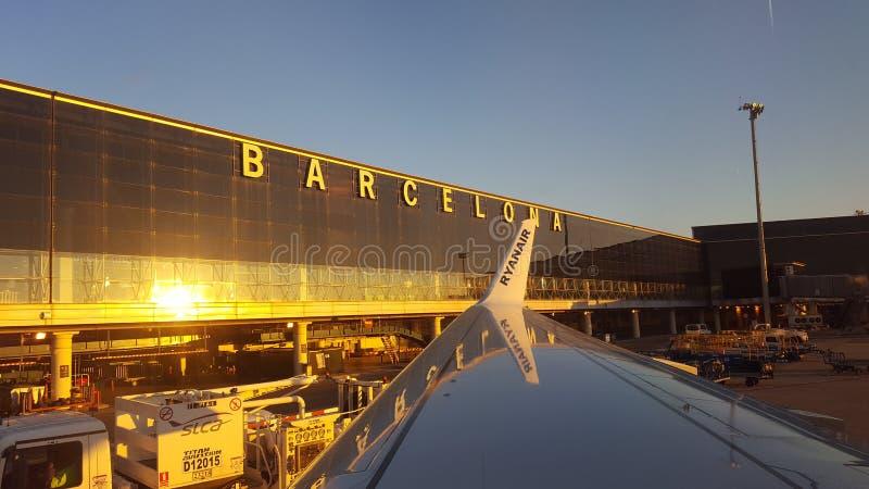 Aeroporto il Ryanair di Barcellona fotografia stock libera da diritti