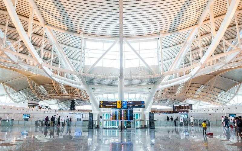 Aeroporto internacional de Denpasar em Bali, Indon?sia imagem de stock