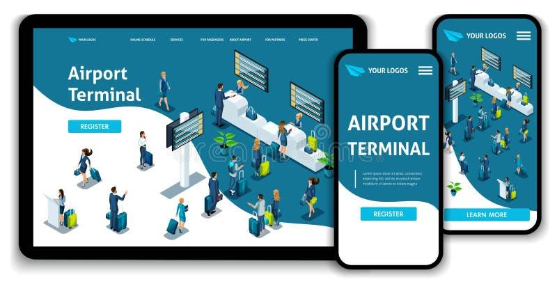 Aeroporto internacional do conceito isométrico da página da aterrissagem do molde do Web site, terminal de aeroporto, recuperação ilustração stock