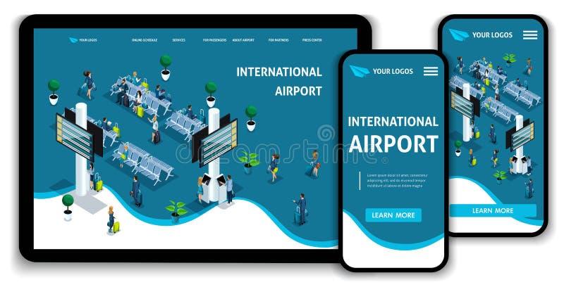 Aeroporto internazionale isometrico di concetto della pagina di atterraggio del modello del sito Web, passeggeri nel salotto, via illustrazione vettoriale