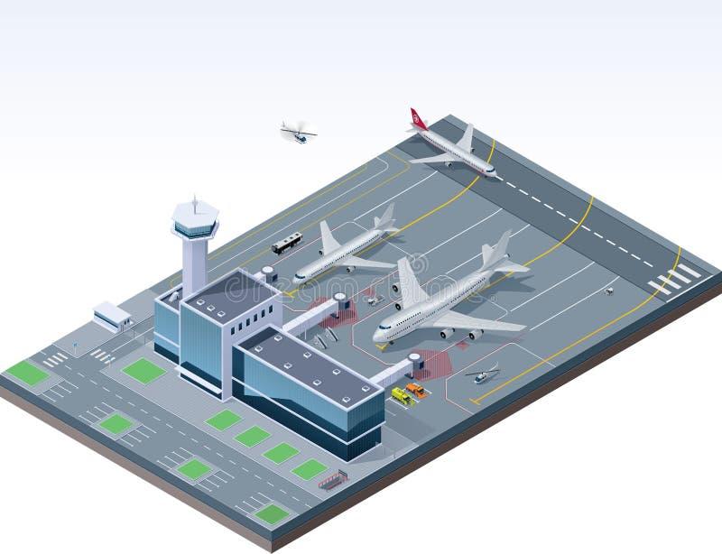 Aeroporto isométrico do vetor ilustração stock