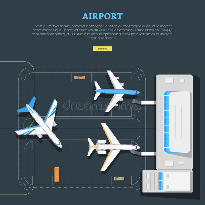 aeroporto Lugar dos aviões marking Emplanement ilustração royalty free