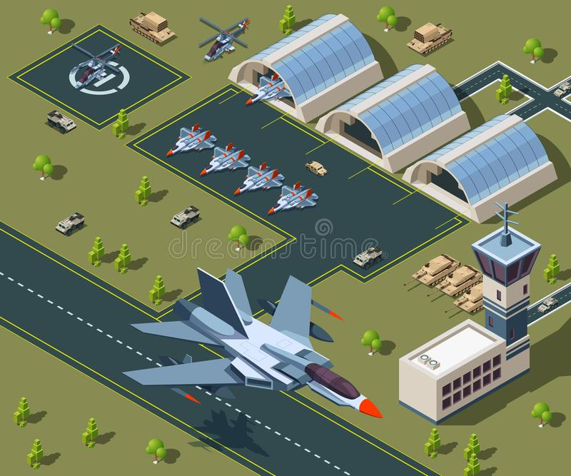 Aeroporto militar isométrico Baixo 3d poli de aviões dos EUA ilustração do vetor