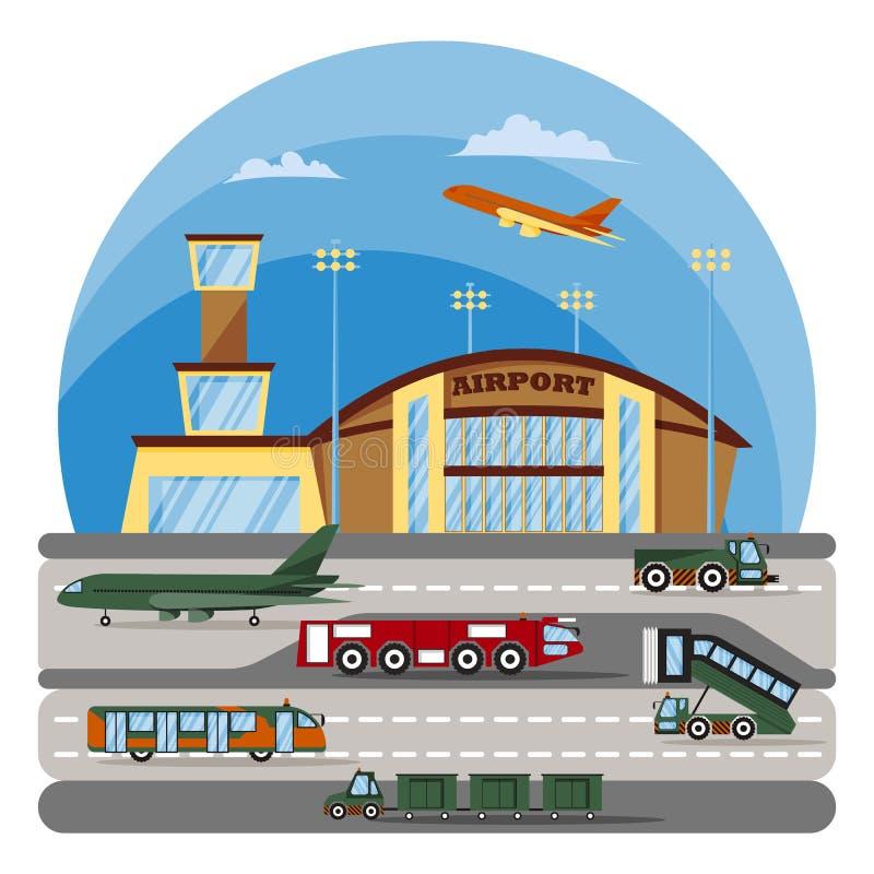 Aeroporto moderno Equipamento e veículos especiais auxiliares ilustração stock
