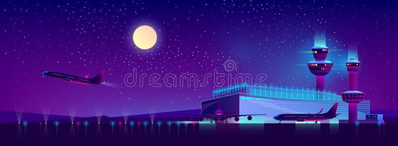 Aeroporto nei colori ultravioletti, fondo di notte di vettore illustrazione vettoriale