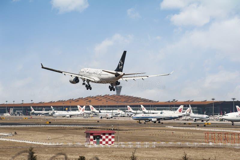 Aeroporto occupato del capitale di Pechino immagini stock libere da diritti