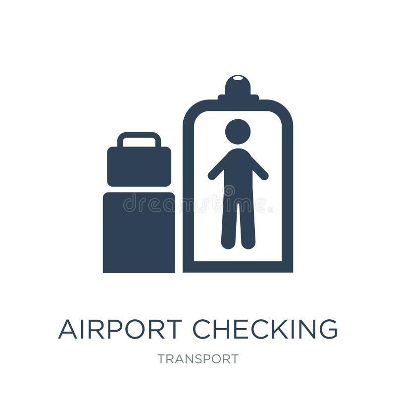 aeroporto que verifica o ícone no estilo na moda do projeto aeroporto que verifica o ícone isolado no fundo branco aeroporto que  ilustração stock