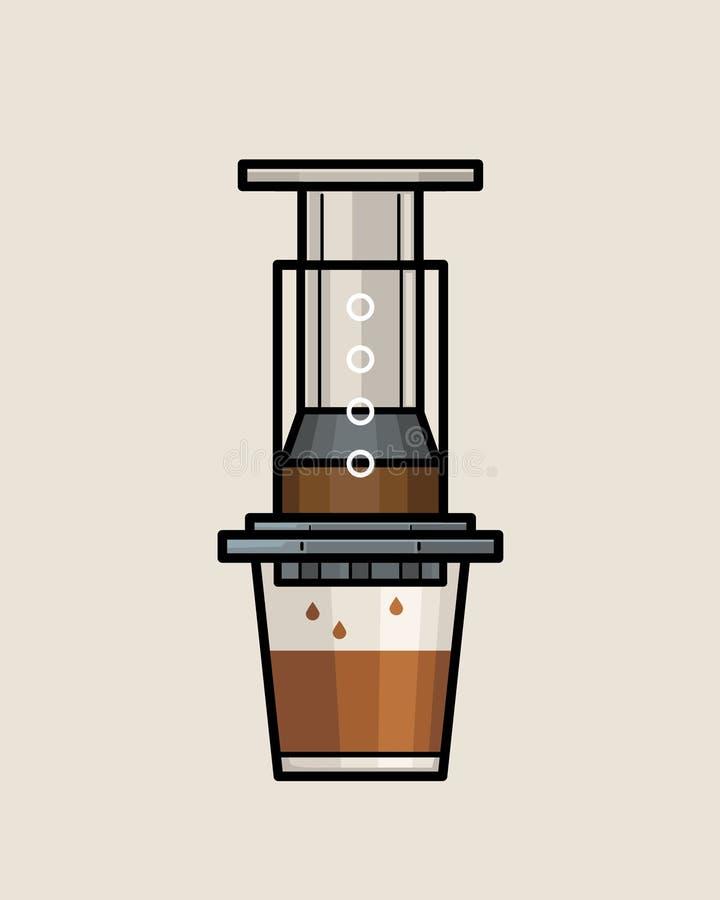 AeroPress Coffee Maker. An illustration of AeroPress Coffee Maker. One of manual brewing methods royalty free illustration