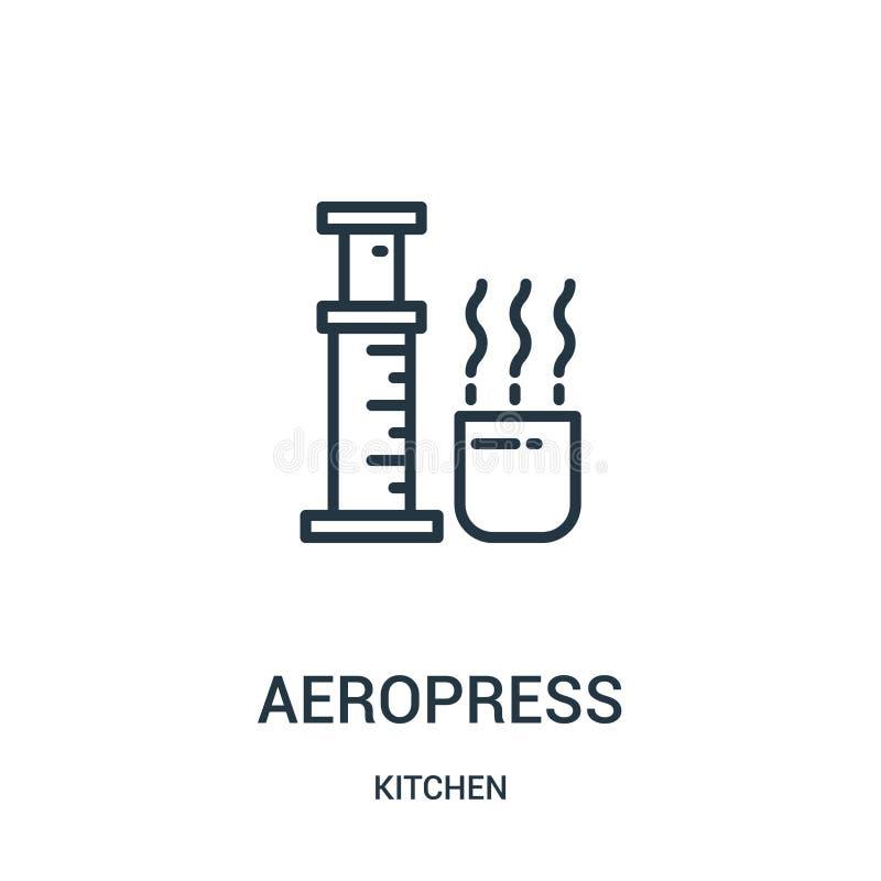 aeropresssymbolsvektor från köksamling Tunn linje illustration för vektor för aeropressöversiktssymbol Linjärt symbol för bruk på stock illustrationer
