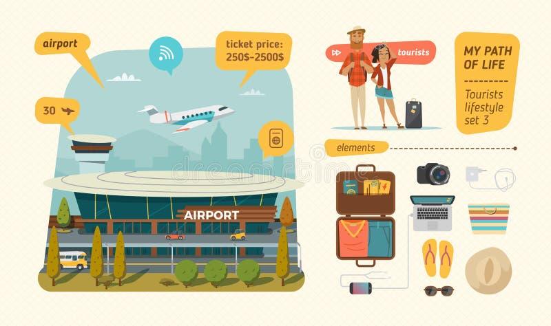 Aeropuerto con la información sobre turistas stock de ilustración
