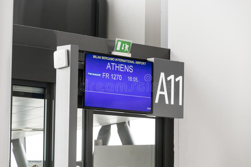 Aeropuerto de Bérgamo, Italia foto de archivo