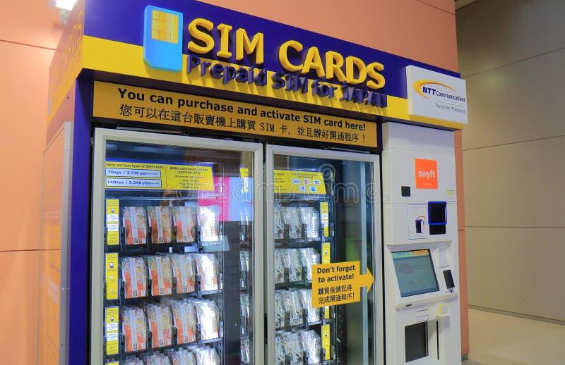 Aeropuerto de Kanasai de la máquina expendedora de la tarjeta de Sim en Osaka Japan imagen de archivo
