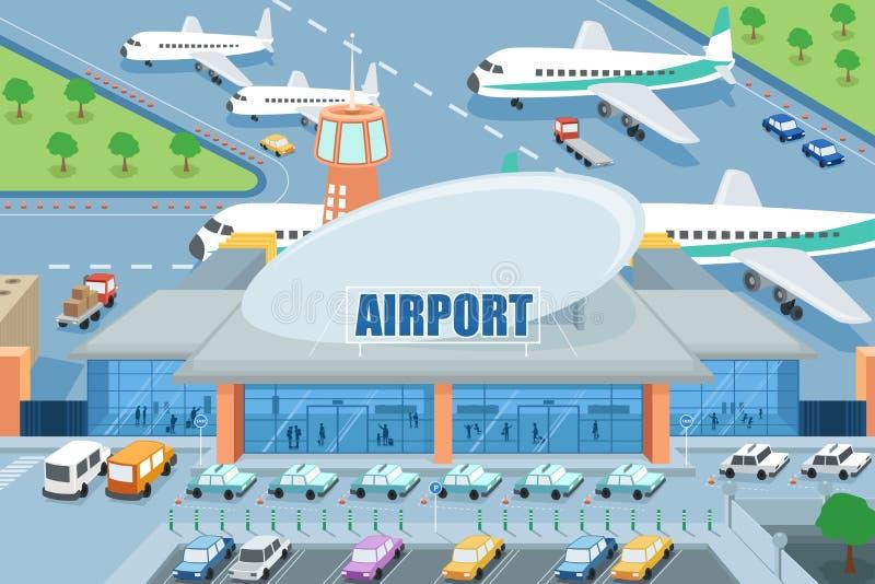 Aeropuerto en el exterior ilustración del vector