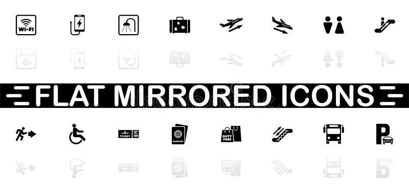 Aeropuerto - iconos planos del vector stock de ilustración