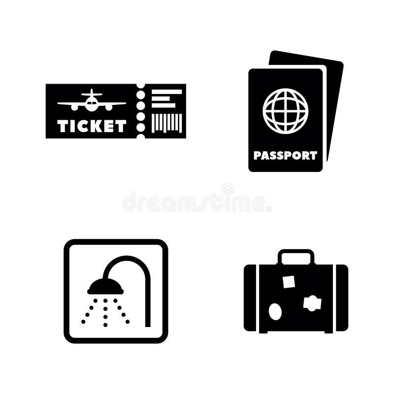 Aeropuerto Iconos relacionados simples del vector ilustración del vector