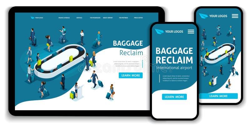 Aeropuerto internacional del concepto isométrico de la página del aterrizaje de la plantilla de la página web, recuperación de eq ilustración del vector