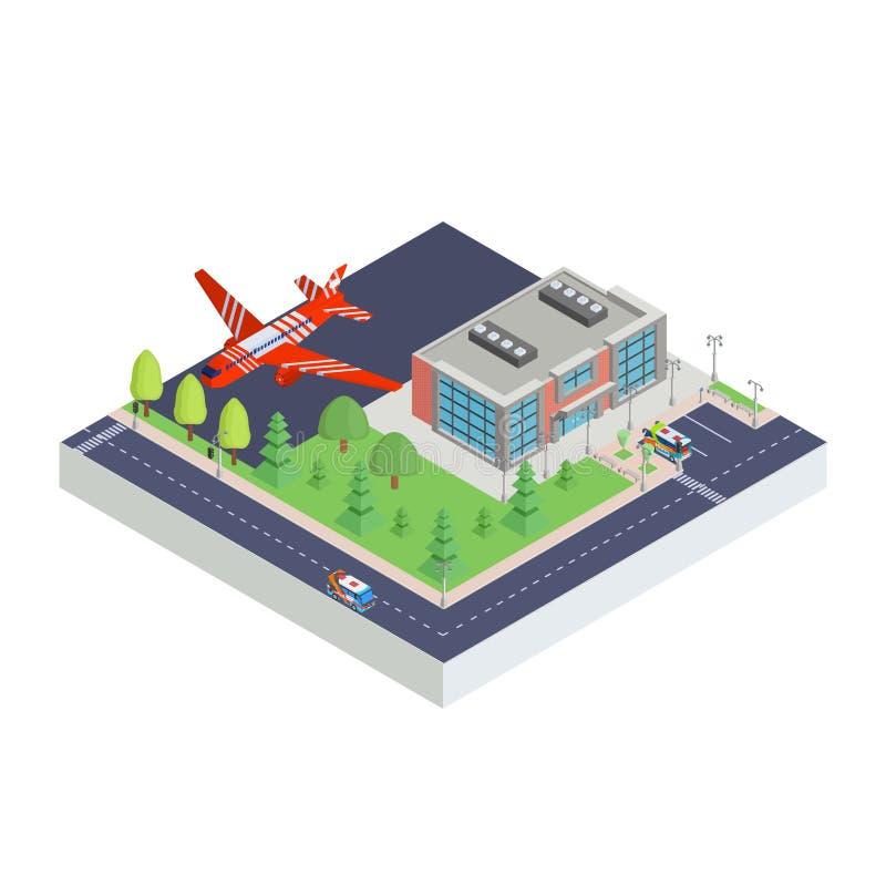 Aeropuerto isométrico moderno y aviones libre illustration