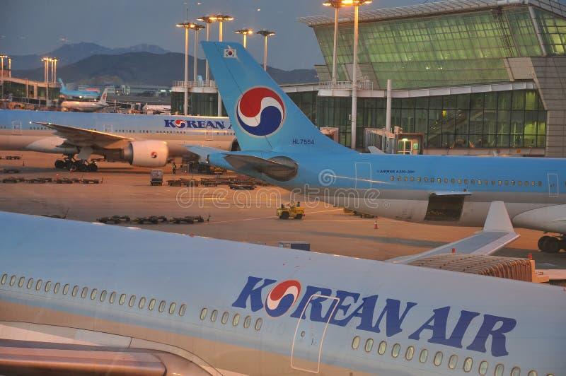 Aeropuerto Seul, Corea de Korean Air - de Inchon foto de archivo