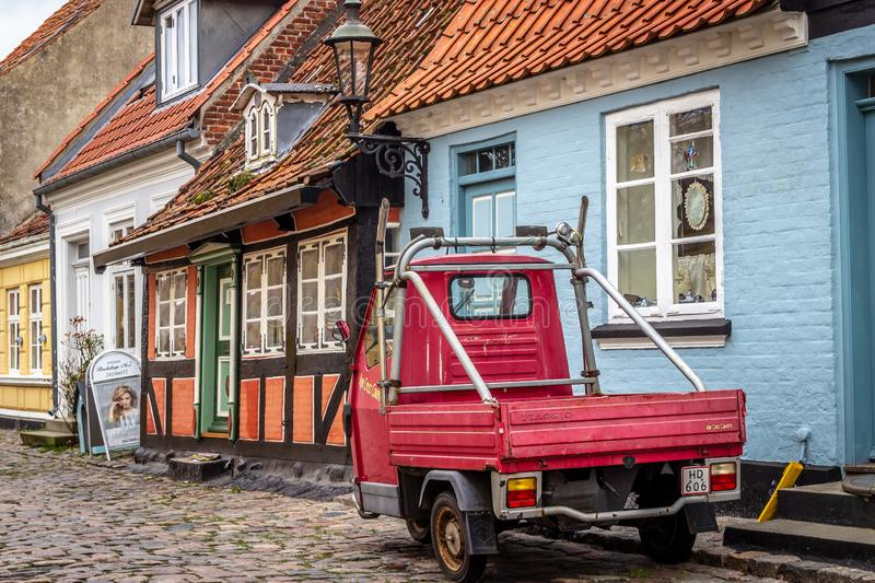 Aeroskobing, Denmark - Quaint Street view with Old, Traditional Houses stock photos